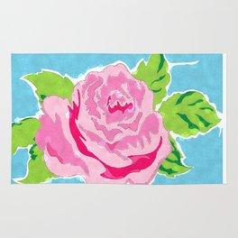 Watercolor Rose - Ocean Rug