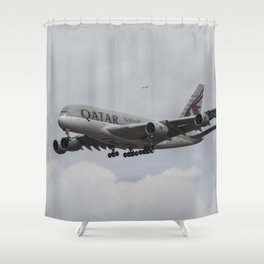 Qatar Airlines Airbus And Seagull Escort Shower Curtain