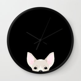 Chihuahua peeking dog breed cute chihuahuas gifts for dog moms pure breed Wall Clock