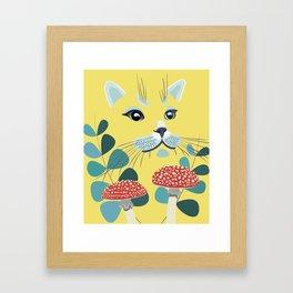 Yellow Forest Cat Framed Art Print