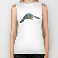 sea turtle Biker Tanks featuring Sea Turtle by Tim Jeffs Art