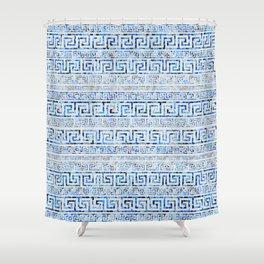 Greek Meander Pattern - Greek Key Ornament Shower Curtain