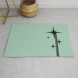 1950s Atomic Age Retro Starburst in Mint Green and Black Rug