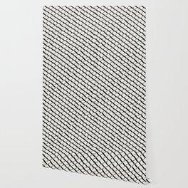 Modern Diamond Lattice 2 Black on Light Gray Wallpaper