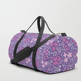 Floral doodles in pink and violet Duffle Bag