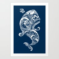 whale Art Prints featuring The White Whale  by Peter Kramar