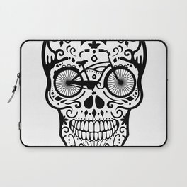 Vintage Mexican Skull with Bicycle - black and white Laptop Sleeve