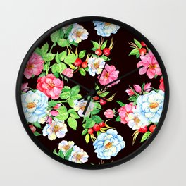 Elegant Floral Design Pattern With Charming Garden Bees Wall Clock