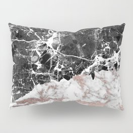 Modern abstract faux rose gold black white marble Pillow Sham