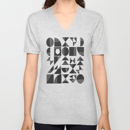 Shape and Line in Black and White Unisex V-Neck