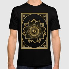 Peace Lotus Mens Fitted Tee MEDIUM Black