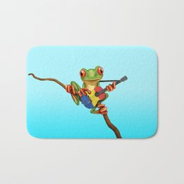 Tree Frog Playing Acoustic Guitar with Flag of Romania Bath Mat