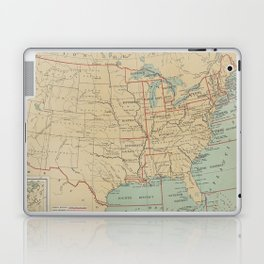 Vintage United States Lighthouse Map (1898) Laptop & iPad Skin