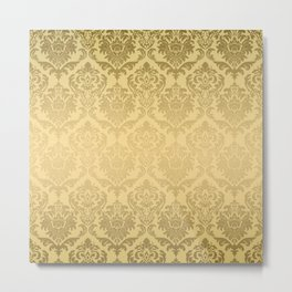 Gold tones floral damasks pattern Metal Print