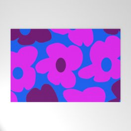 Large Pink and Purple Retro Flowers Blue Background #decor #society6 #buyart Welcome Mat