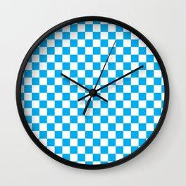 Blue Checkerboard Pattern Wall Clock