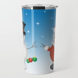 Cute Snowmen with Ornaments, Candy Cane and Strand of Lights Travel Mug