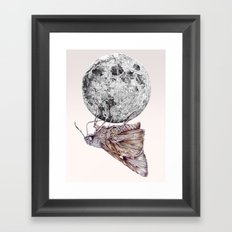 In which a moth is enticed by the light of the moon Framed Art Print