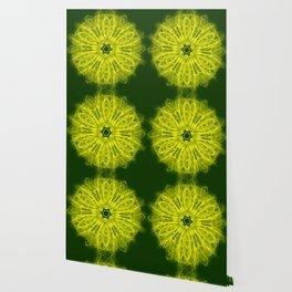 Bold yellow kaleidoscope on deep forest green Wallpaper