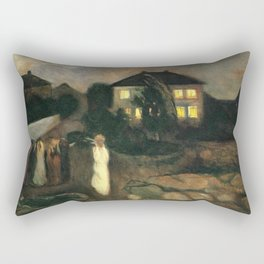 The Nor'easter - The Coastal Autumn Storm landscape painting by Edvard Munch Rectangular Pillow
