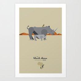 Endangered: The Black Rhino Art Print
