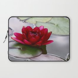 Dark Red Water Lily Laptop Sleeve