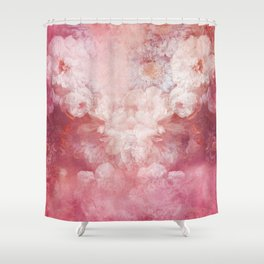 Vintage rustic pink coral white gradient flowers Shower Curtain