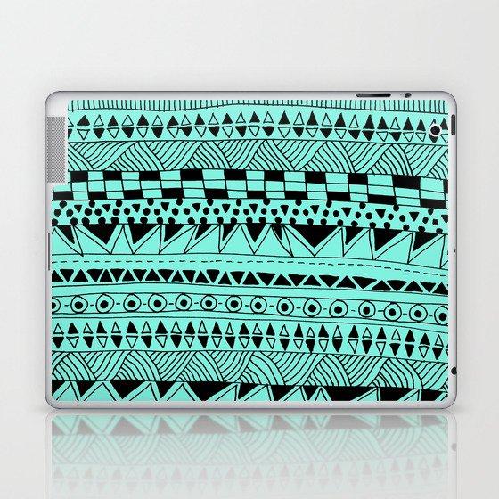 Fun - Black and Mint Laptop & iPad Skin