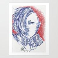 Blue Anime Poison Art Print