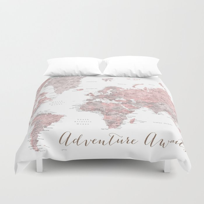 world map in dusty pink grey watercolor adventure awaits duvet cover