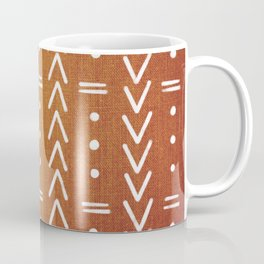 Mudcloth White Geometric Shapes in Ochre Burnt Orange Coffee Mug