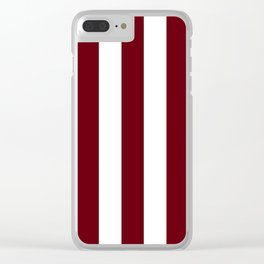 Rosewood red - solid color - white vertical lines pattern Clear iPhone Case