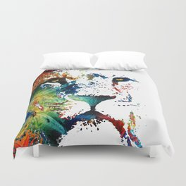 Colorful Lion Art By Sharon Cummings Duvet Cover