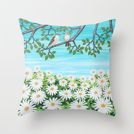 red bellied woodpeckers and daisies Throw Pillow
