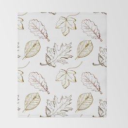 Leaves (browns) Throw Blanket