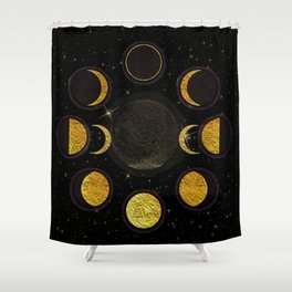 Black & Gold Moon Phases Shower Curtain