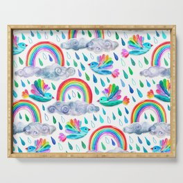 Spring Showers and Rainbow Birds on White Serving Tray