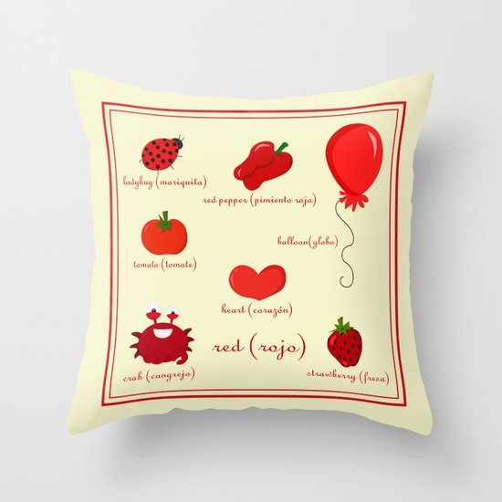 Colors: red (los colores: rojo) Throw Pillow