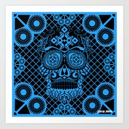 Blueprint pattern skull ecopop Art Print