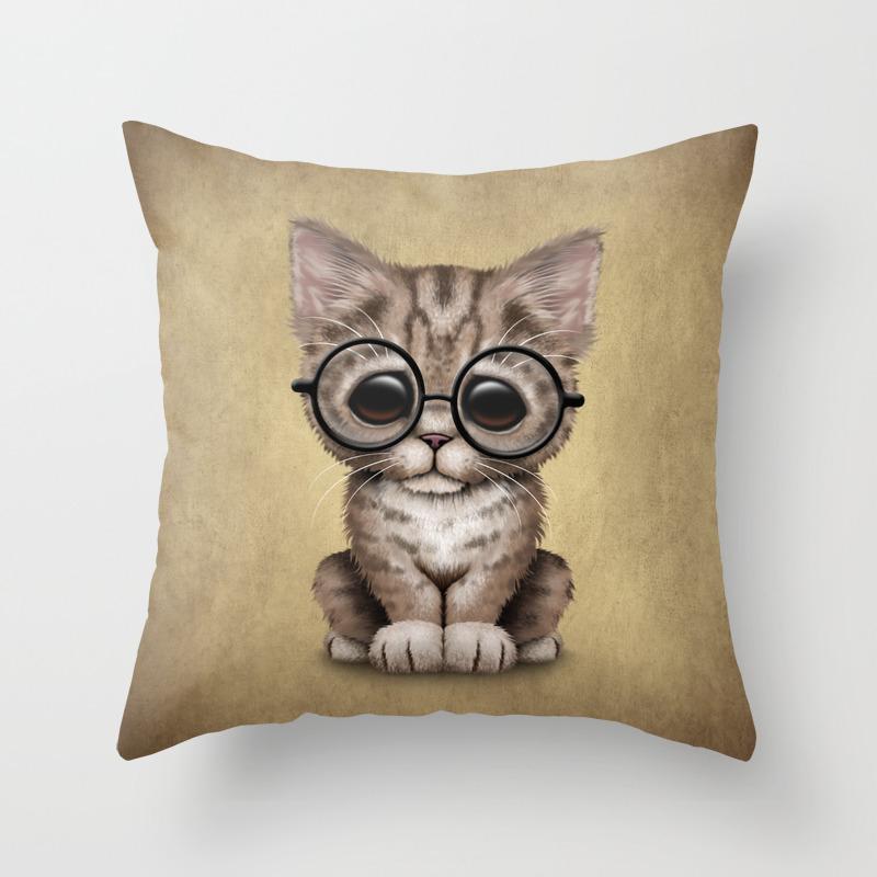 Cute Brown Tabby Kitten Wearing Eye Glasses Throw Pillow by Jeffbartels PLW3810773