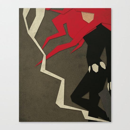 Paper Heroes - Black Widow Canvas Print