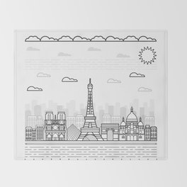 Paris Skyline Throw Blanket