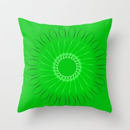 Spirographs lilac on a green background. Throw Pillow