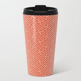 Orange Auspicious Sayagata Japanese Kimono Pattern Travel Mug