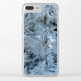 Frosty pattern on glass. Clear iPhone Case