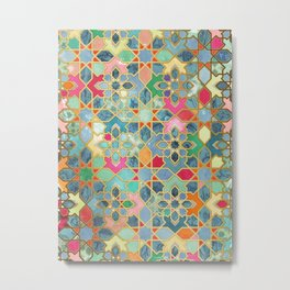 Gilt & Glory - Colorful Moroccan Mosaic Metal Print