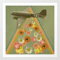 in my world, flowers come out of army planes Art Print