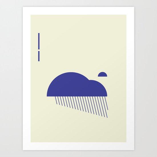 Minimal Clouds Rain Art Print
