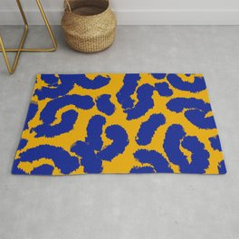 Orange and blue animal print pattern  Rug