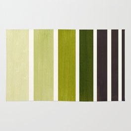Olive Green Minimalist Watercolor Mid Century Staggered Stripes Rothko Color Block Geometric Art Rug